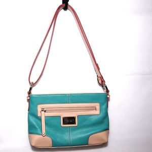 Blue and tan leather convertible strap purse
